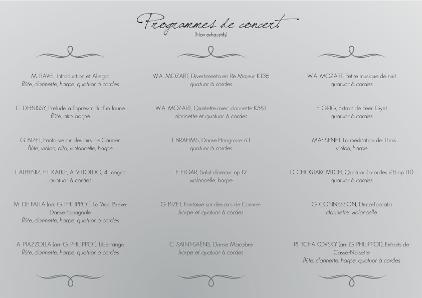 Liste non exhaustive des morceaux joués